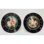 (Antiek) Handgeschilderde porseleinen borden MZ Austria