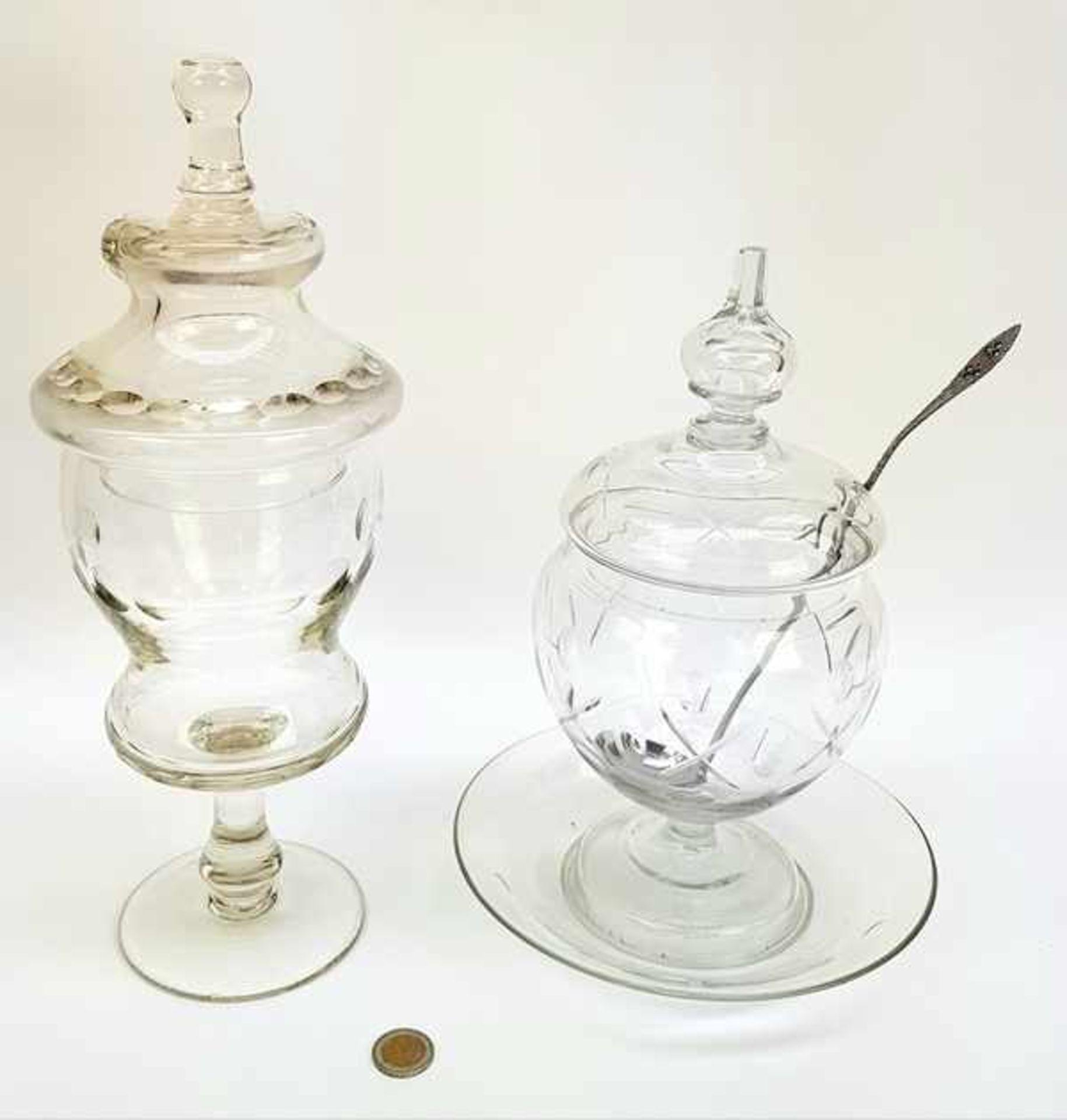 (Antiek) Glazen koekjespot en bowl schaal - Image 2 of 7