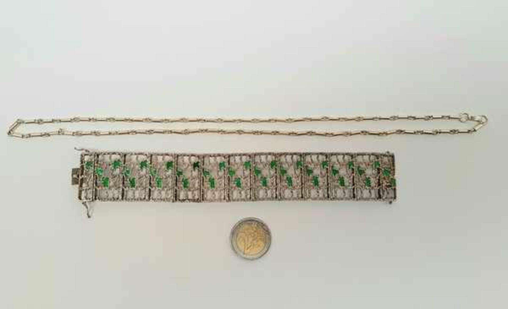 (Sieraden) Zilver + emaille. Armband en halsketting. o.a. Mexico - Image 2 of 7