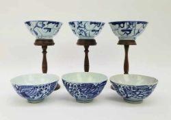 (Aziatica) Zes rijst of theekommen - China - 19e eeuw