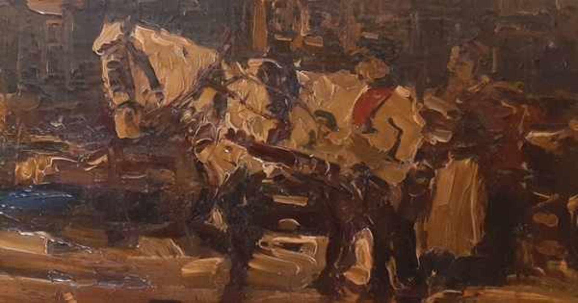 Los 299 - (Kunst) Schilderij, olieverf op paneel, in de stijl van Breitner