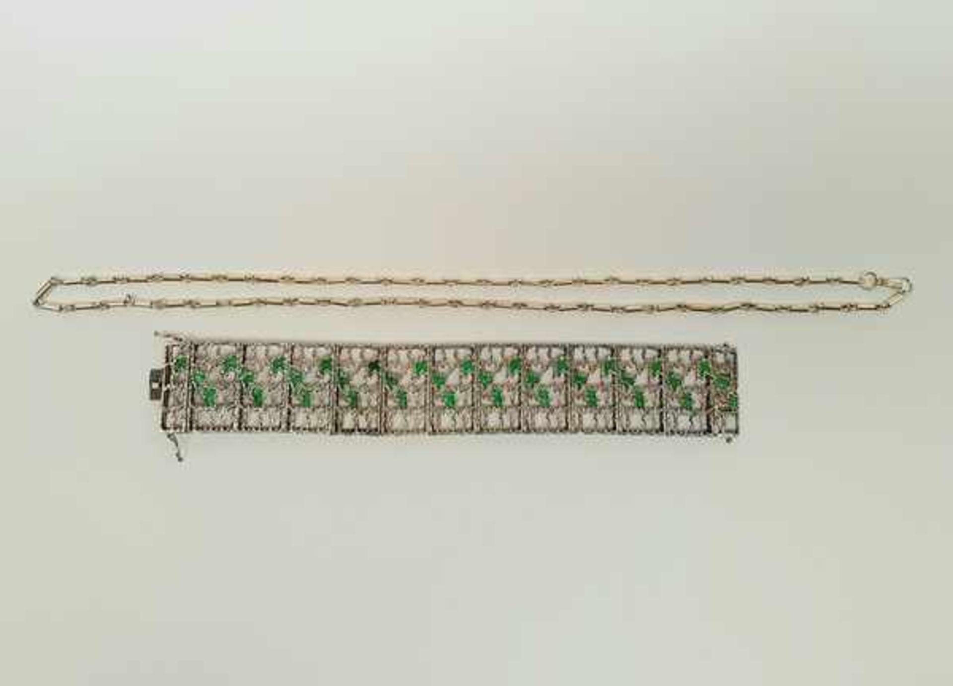 (Sieraden) Zilver + emaille. Armband en halsketting. o.a. Mexico