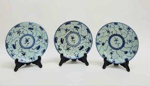 (Aziatica) Drie blauw witte borden - China - 19e eeuw