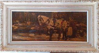(Kunst) Schilderij, olieverf op paneel, in de stijl van Breitner
