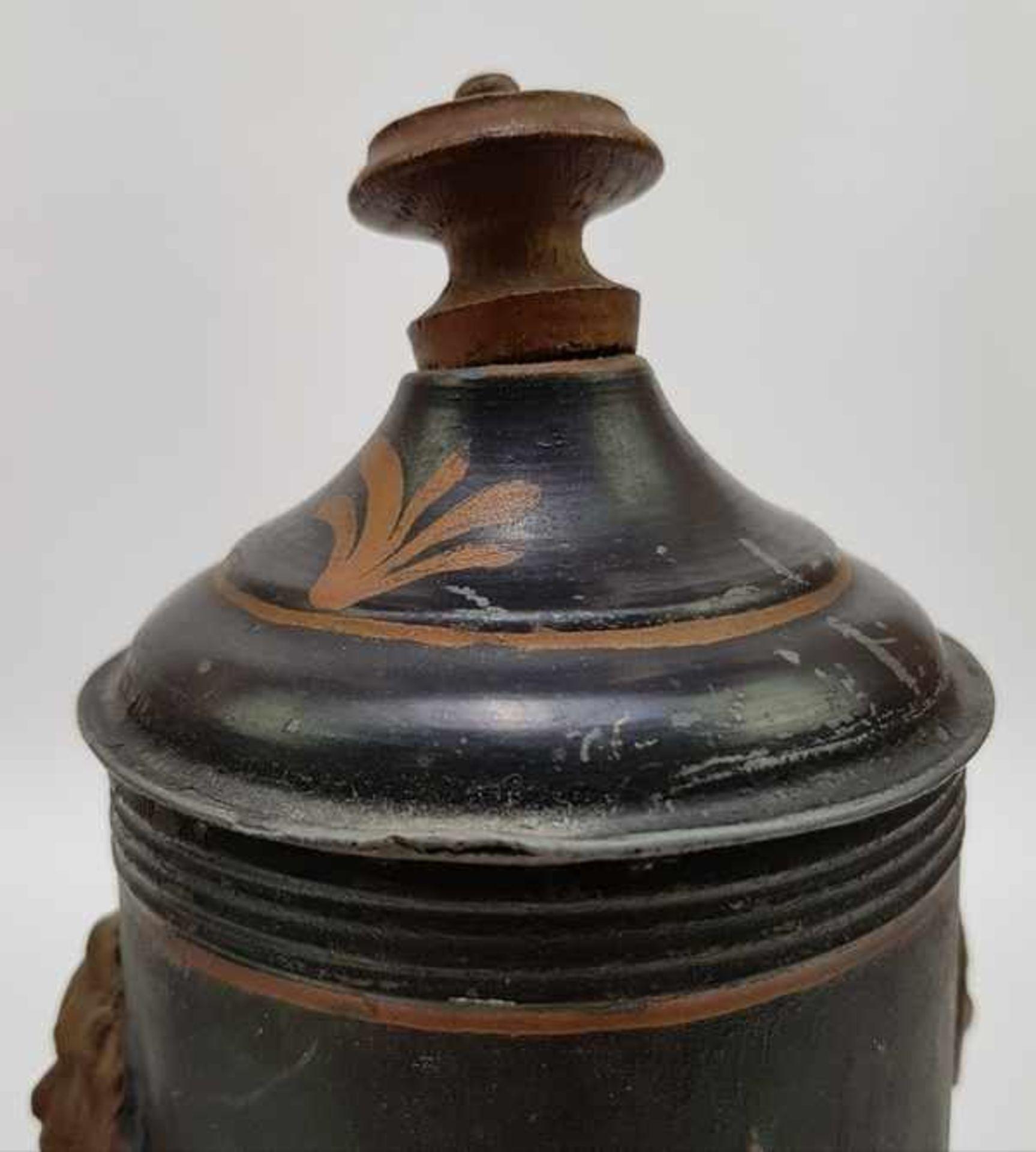 (Antiek) Blikken kraantjespot, theebus en dienblad - Image 7 of 10