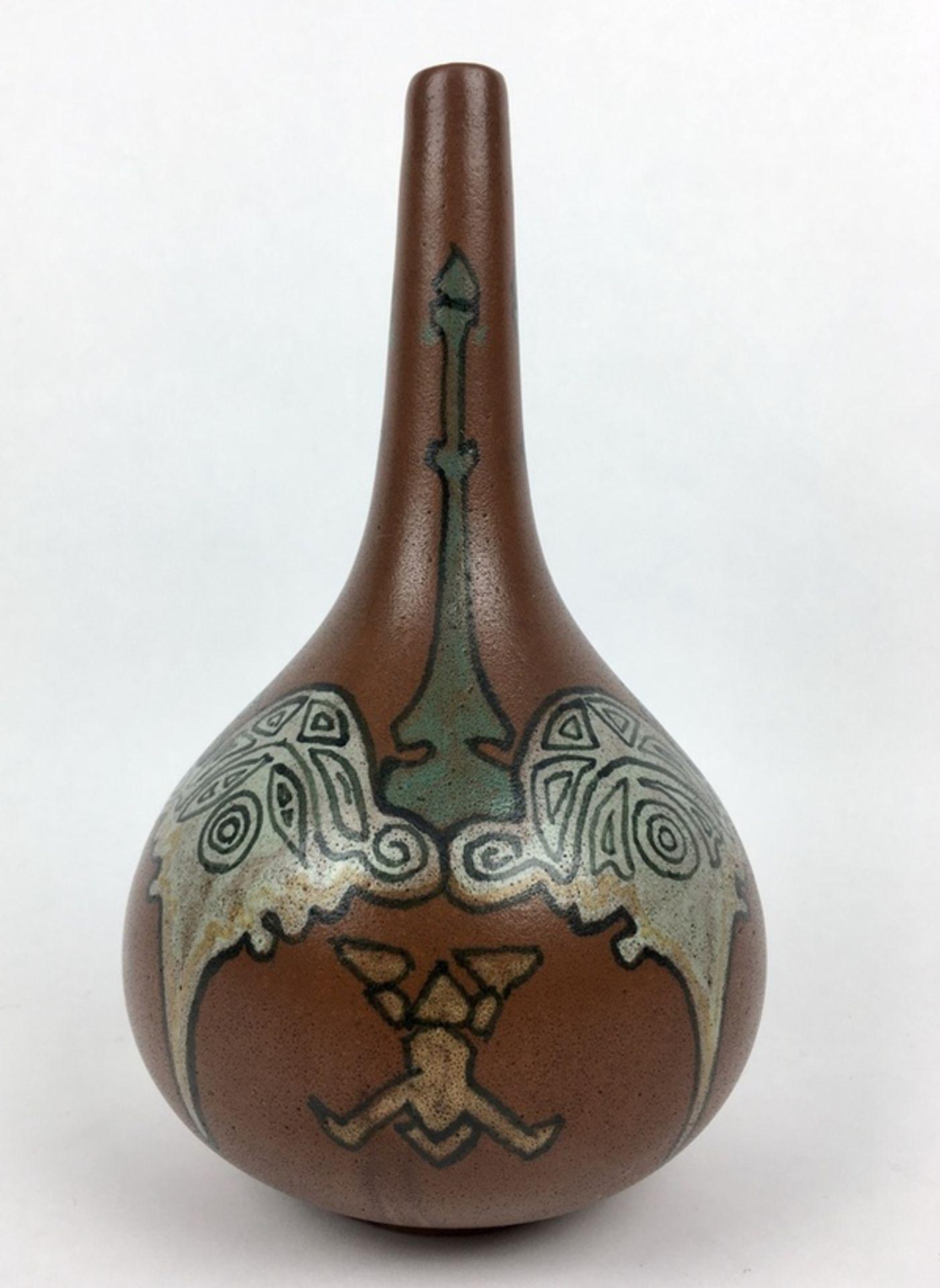 (Toegpaste kunst) Aardewerk vaas, Nienhuis De Distel AmsterdamGeglazuurde aardewerk vaas, gemaa