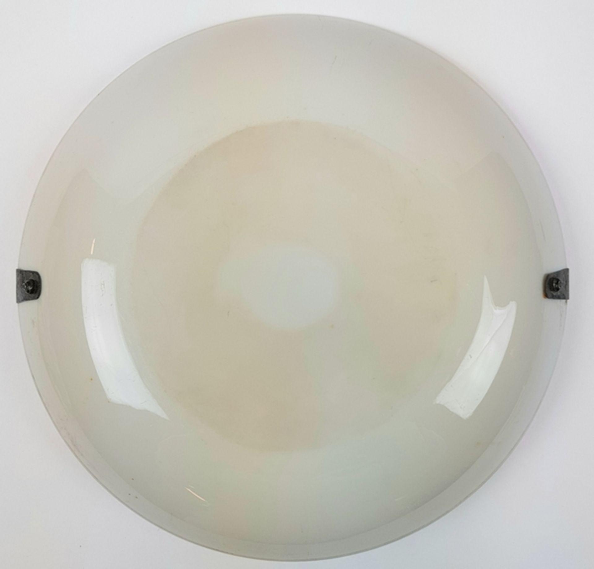 (Antiek) Serveerschaal met zilveren hengselBeschilderde opaline schaal met zilveren hengsel, ci - Image 7 of 8