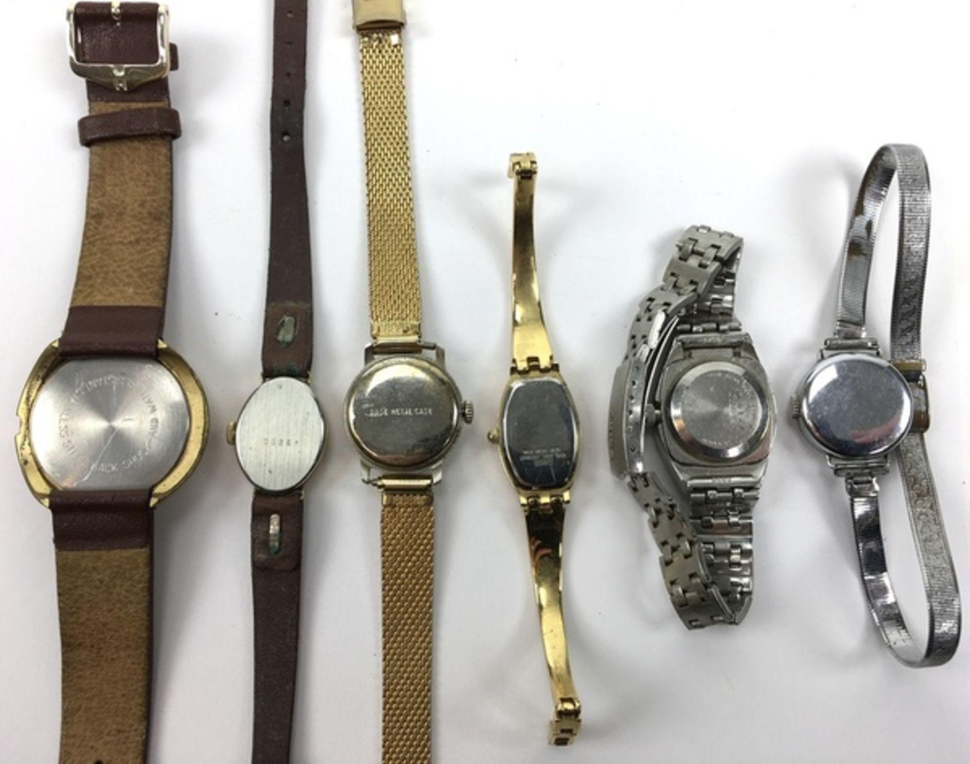 (Sieraden) HorlogesZes verschillende merken horloges, waaronder een Junghans. Conditie: Gebruik - Image 3 of 3