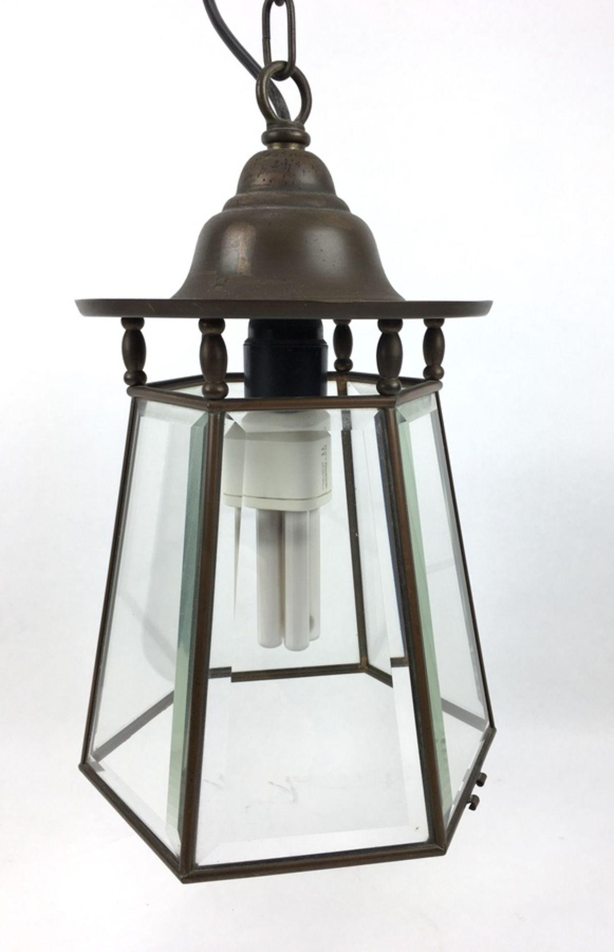 (Curiosa) HanglampZeskantige koper met geslepen glas hanglamp. Eerste helft 20e eeuw. Conditie: - Image 2 of 4