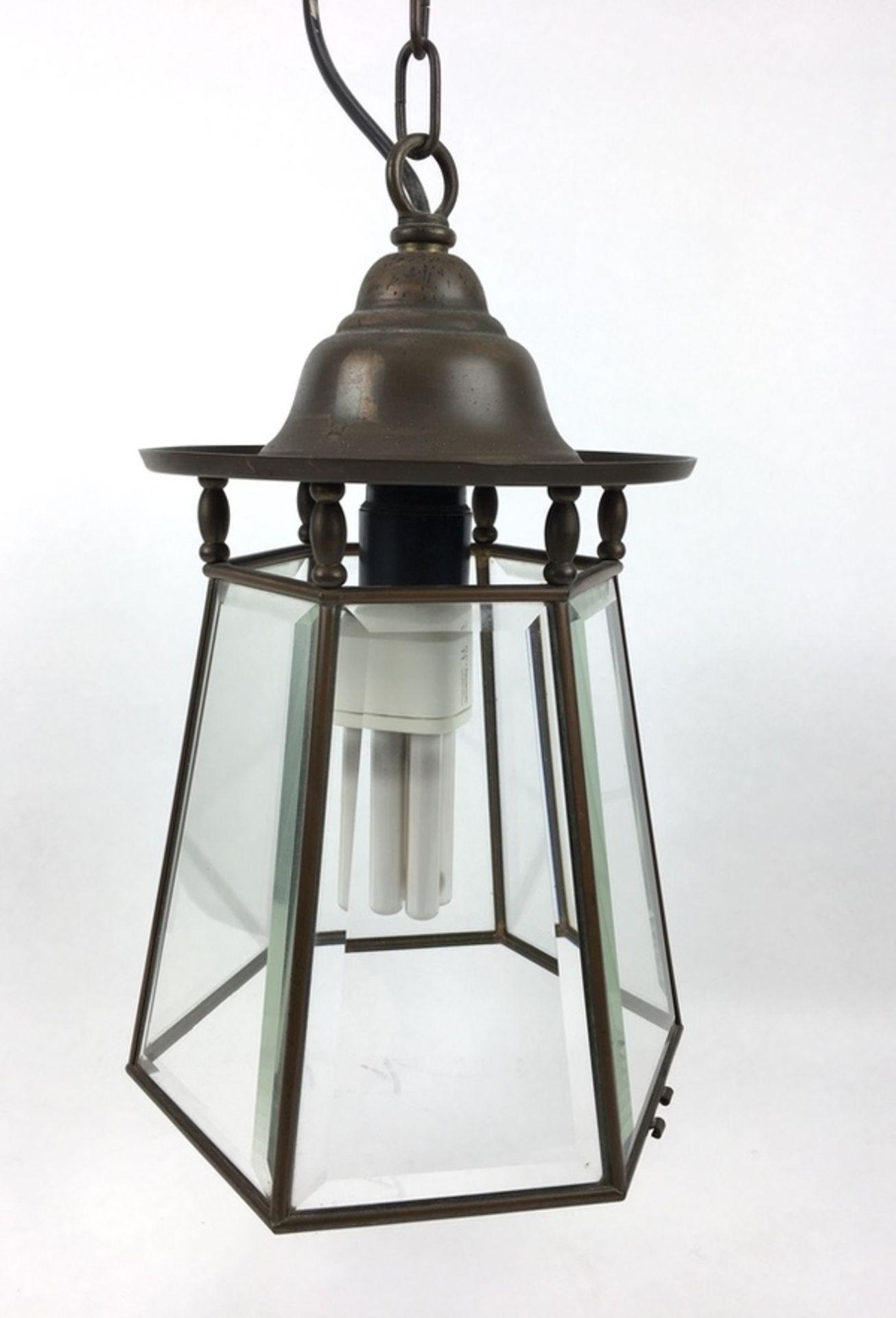 (Curiosa) HanglampZeskantige koper met geslepen glas hanglamp. Eerste helft 20e eeuw. Conditie: - Image 3 of 4