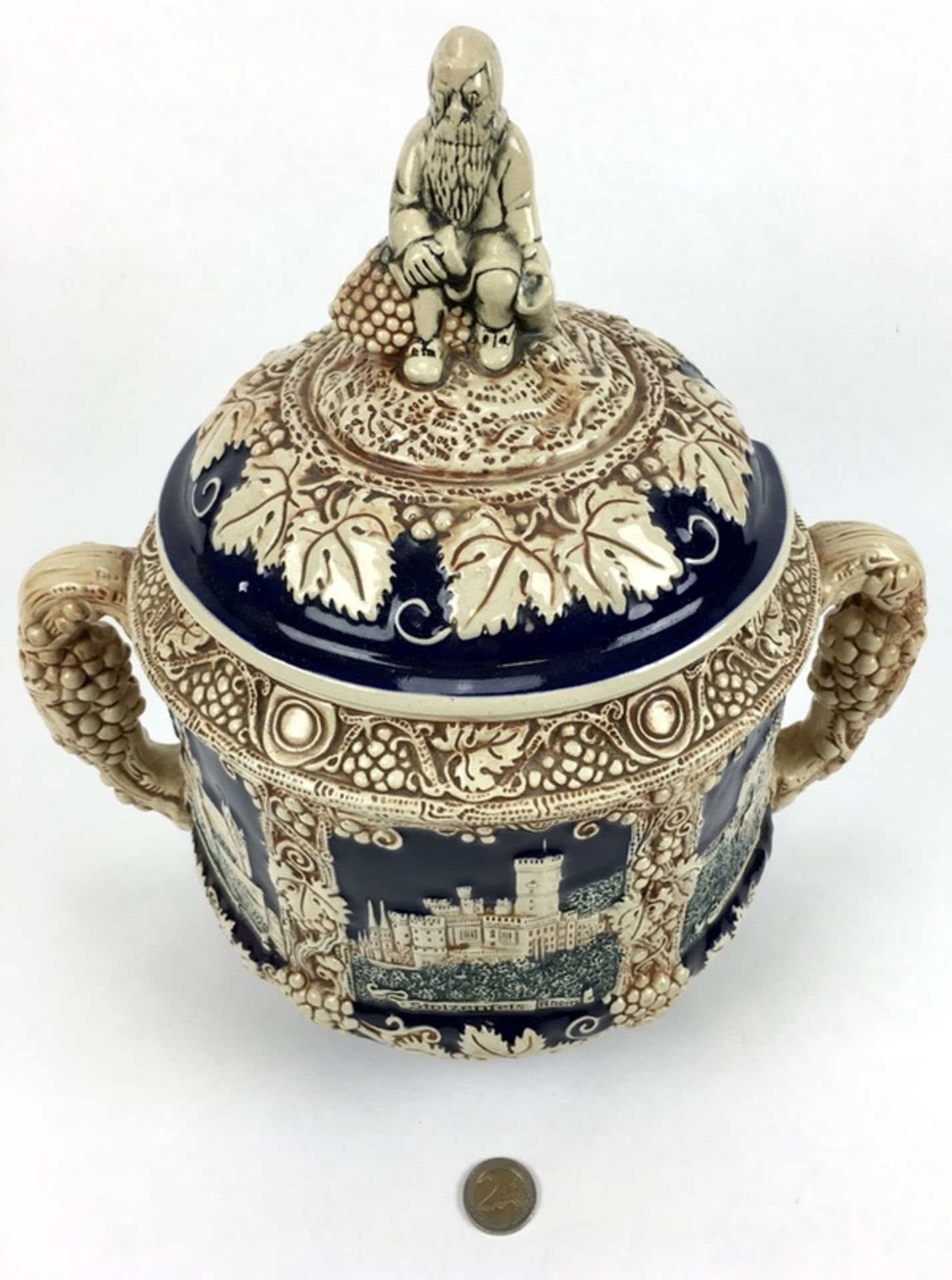 (Curiosa) Aardewerk bowl pot, DuitslandAardewerk bowl pot met druiventrossen decoratie. Duitsla - Bild 2 aus 8