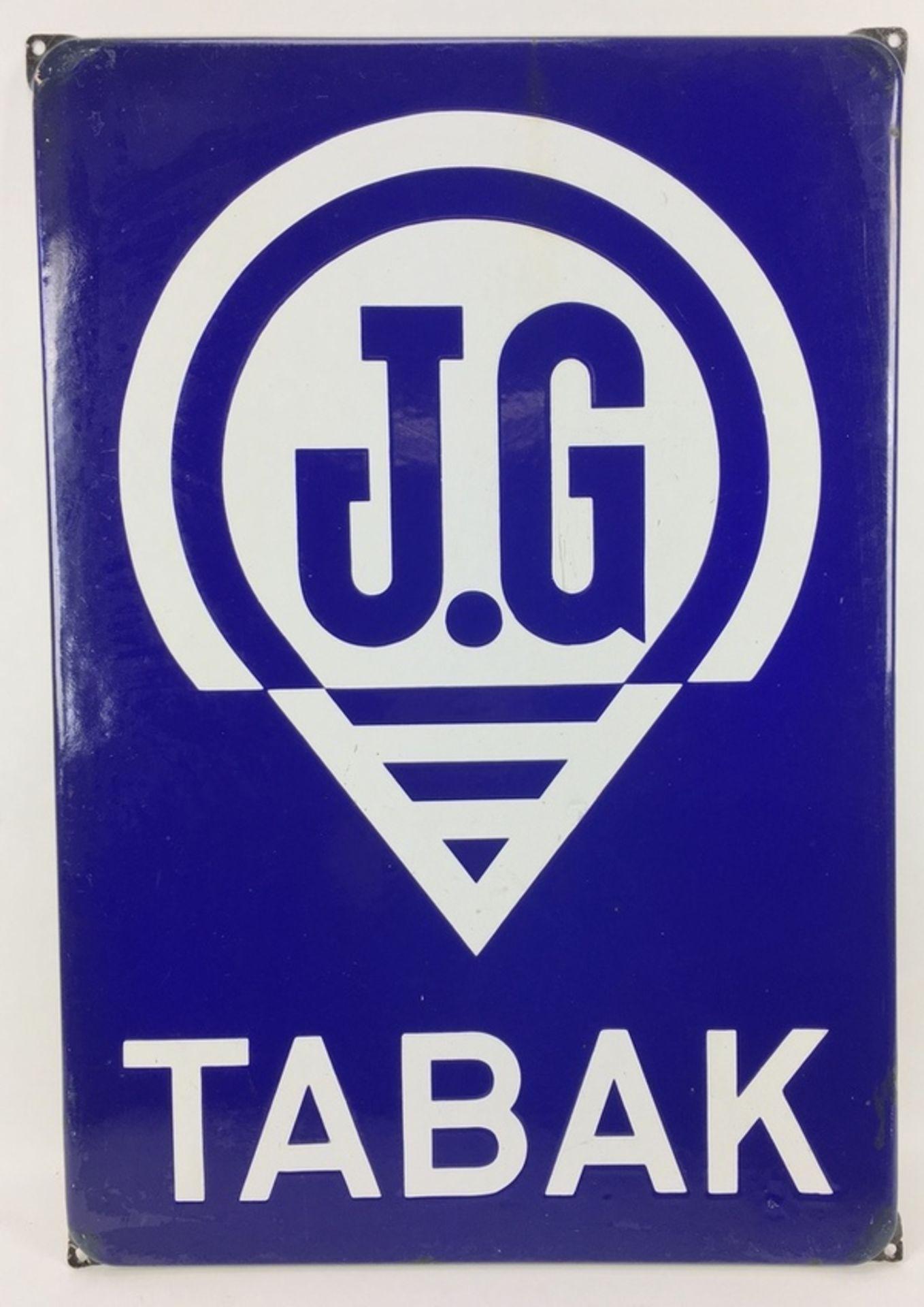 (Curiosa) Emaillebord JG TabakEmaille reclamebord J.G. Tabak. Jan Gruno tabaksfabrikant te Gro