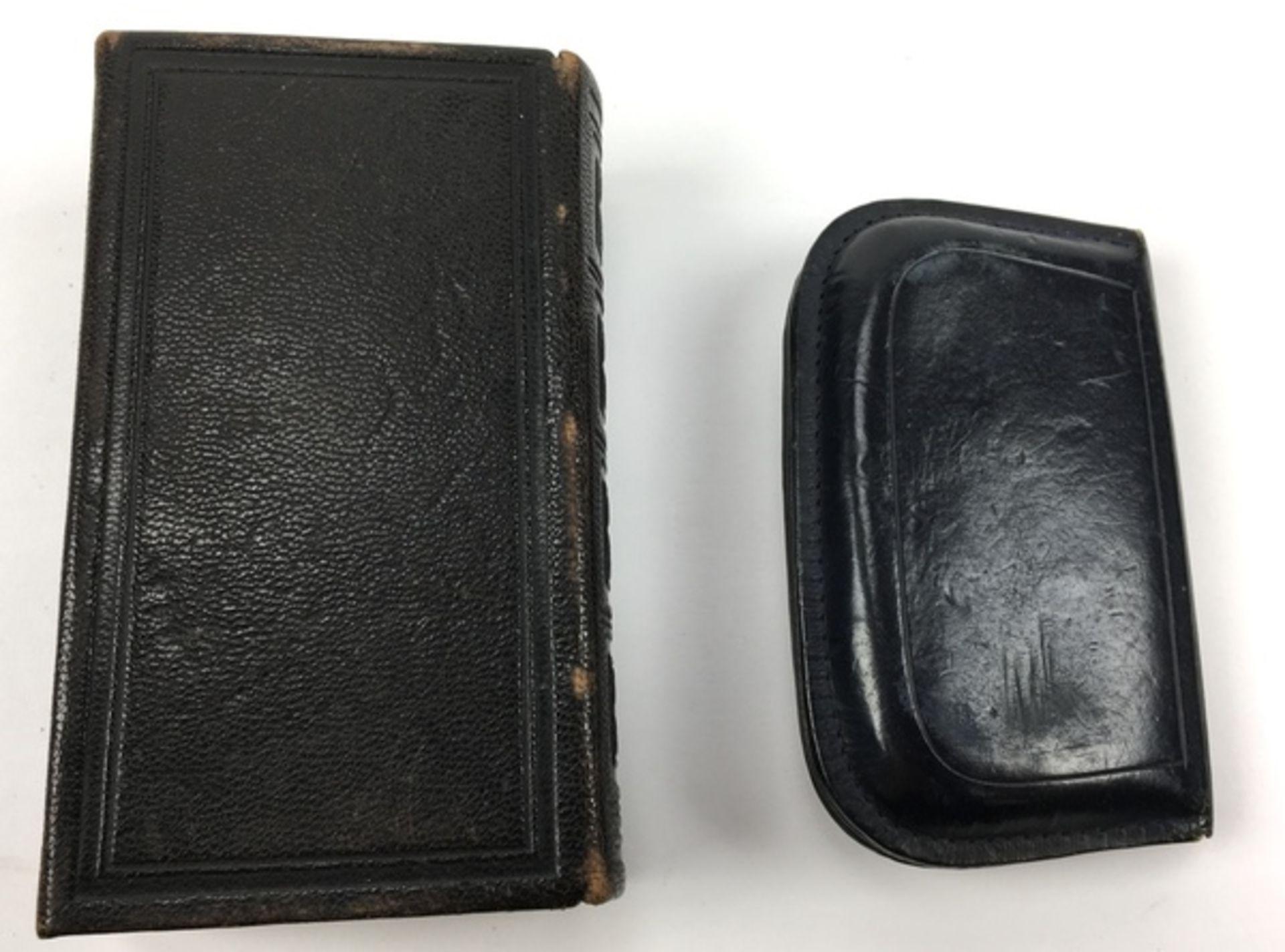 (Antiek) Bijbel en portemonnee met gouden slotenBijbel met leren kaft en gouden slot uit 1884, - Image 6 of 8