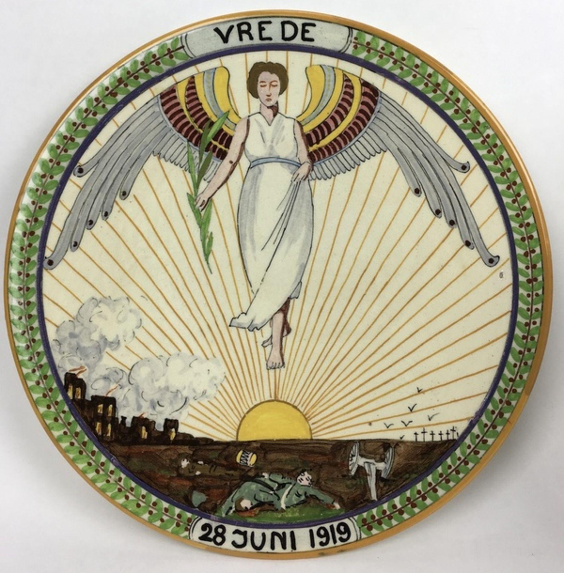 """(Toegpaste kunst) Ivora wandborden """"Vrede""""Twee verschillende Ivora polychroom beschilderde wand - Image 2 of 9"""