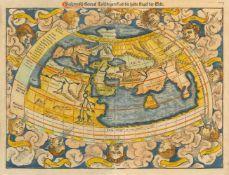 Weltkarte, ptolemäisch. Ptolemaisch General Tafel begreiffend die halbe Kugel der Welt, Mit den