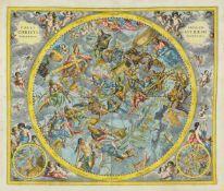 Himmelskarte. - Coeli Stellati Christiani Hæmisphærium Posterius, Himmelskarte der südlichen