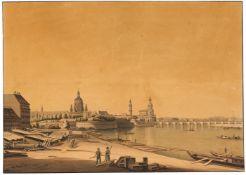 Sachsen/Dresden. – Gesamtansicht, um 1840. / Dresden (Gesamtansicht), 1815.2 Blatt. Kolorierte