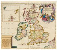 Großbritannien. – 3 kolorierte Kupferstichkarten und 1 Ansicht.1.) Großbritannien/Irland.