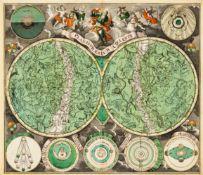 Himmelskarte. Planisphaerium Coeleste. Sternenkarte in zwei Hemisphären, umgeben von Modellen zu