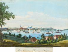 Schleswig-Holstein/Kiel. - Ansicht von Kiel in Holstein, Gesamtansicht von Süden über die Förde