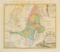 Heiliges Land. Carte de la Terre Sainte divesée selon les douze tribus d´Israel, mit Insetkarte