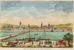 Sachsen/Dresden. - Vuë perspective de la Ville de Dresde / Ansicht von Dresden nebst der Elbe Brücke