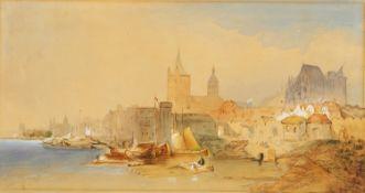 Nordrhein-Westfalen/Köln. - Uferansicht von Norden.1866 Aquarell und Deckweiß auf Velin. 27 x 51 cm.