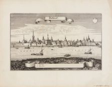 Nordrhein-Westfalen/Düsseldorf. - Düsseldorff, Gesamtansicht mit dem Rhein im Vordergrund und der