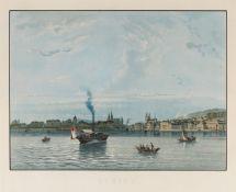 Schweiz/Zürich. Zurich, Ansicht vom Zürichsee aus, mit Dampfer.Kolorierte Aquatintaradierung auf