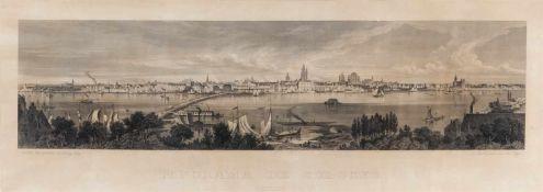 Köln. – Panorama de Cologne, Panoramaansicht über den Rhein, im Vordergrund das bewaldete Deutzer
