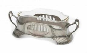 OrivitA Jugendstil pewter planter with cut glass liner, circa 1900-1910, marked underneath and