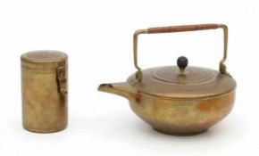 Jan Eisenloeffel (1876-1957)A brass teapot with cane wickered handle and wooden grip (loose),
