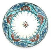 De Porceleyne Fles, DelftA Persian-inspired decorated ceramic wall plate, circa 1910-1930, signed to