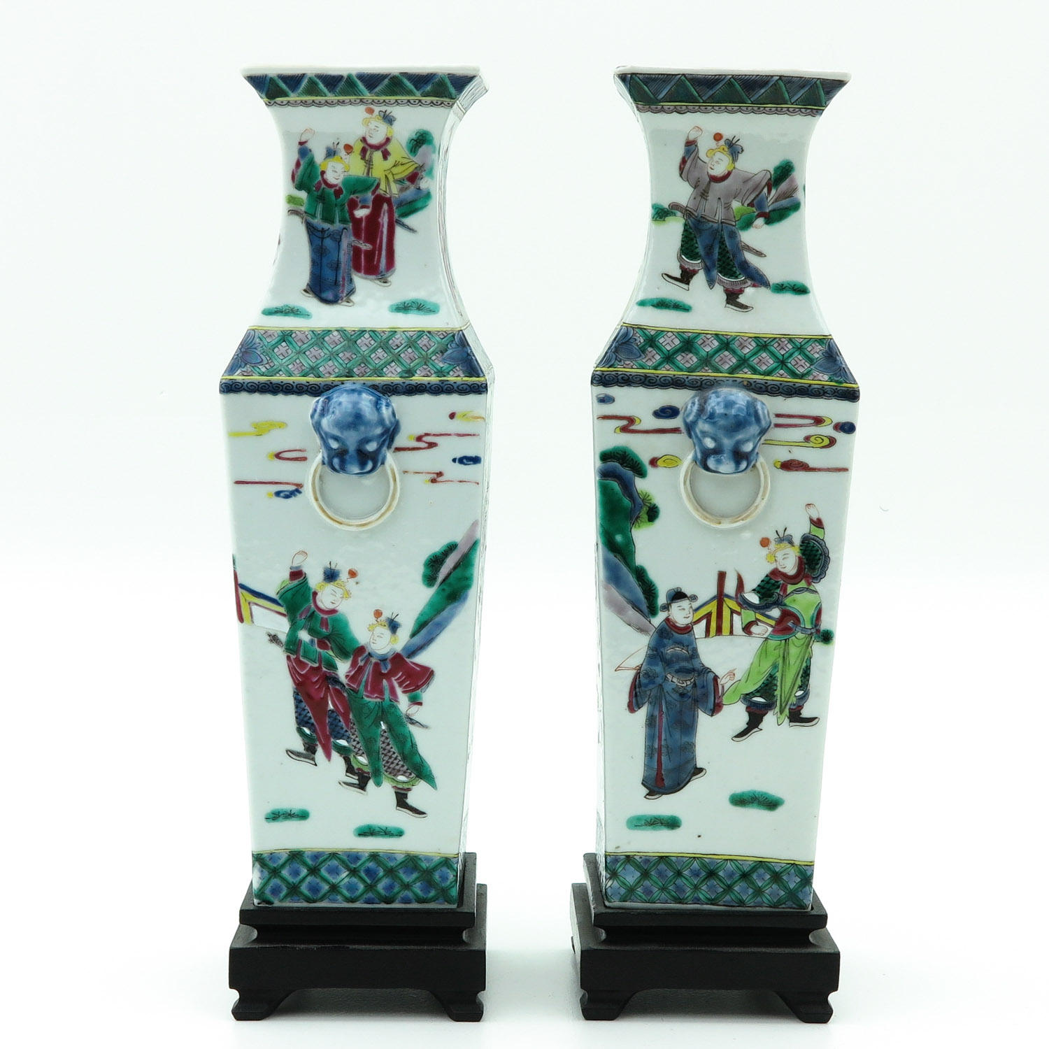 Lot 7049 - A Pair of Square Vases on Wood Base