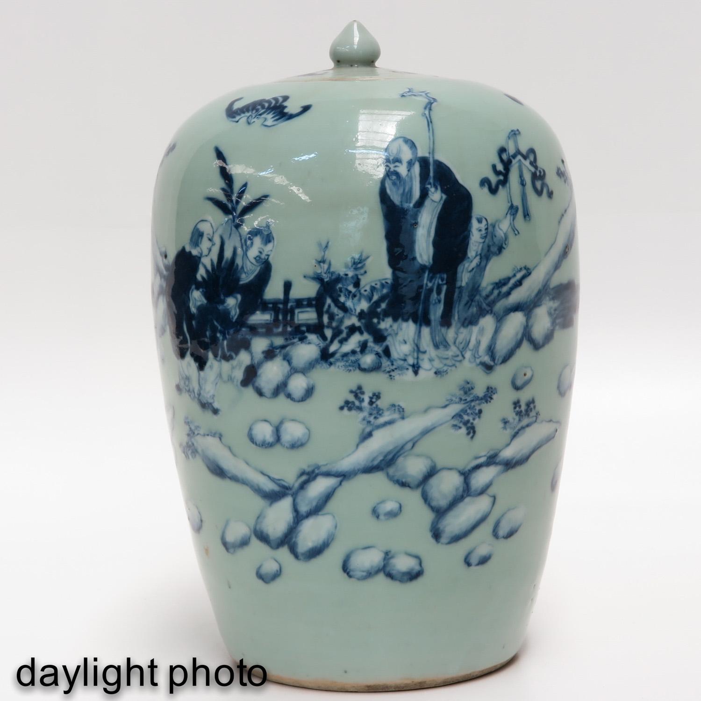 Lot 7019 - A Celadon and Blue Ginger Jar