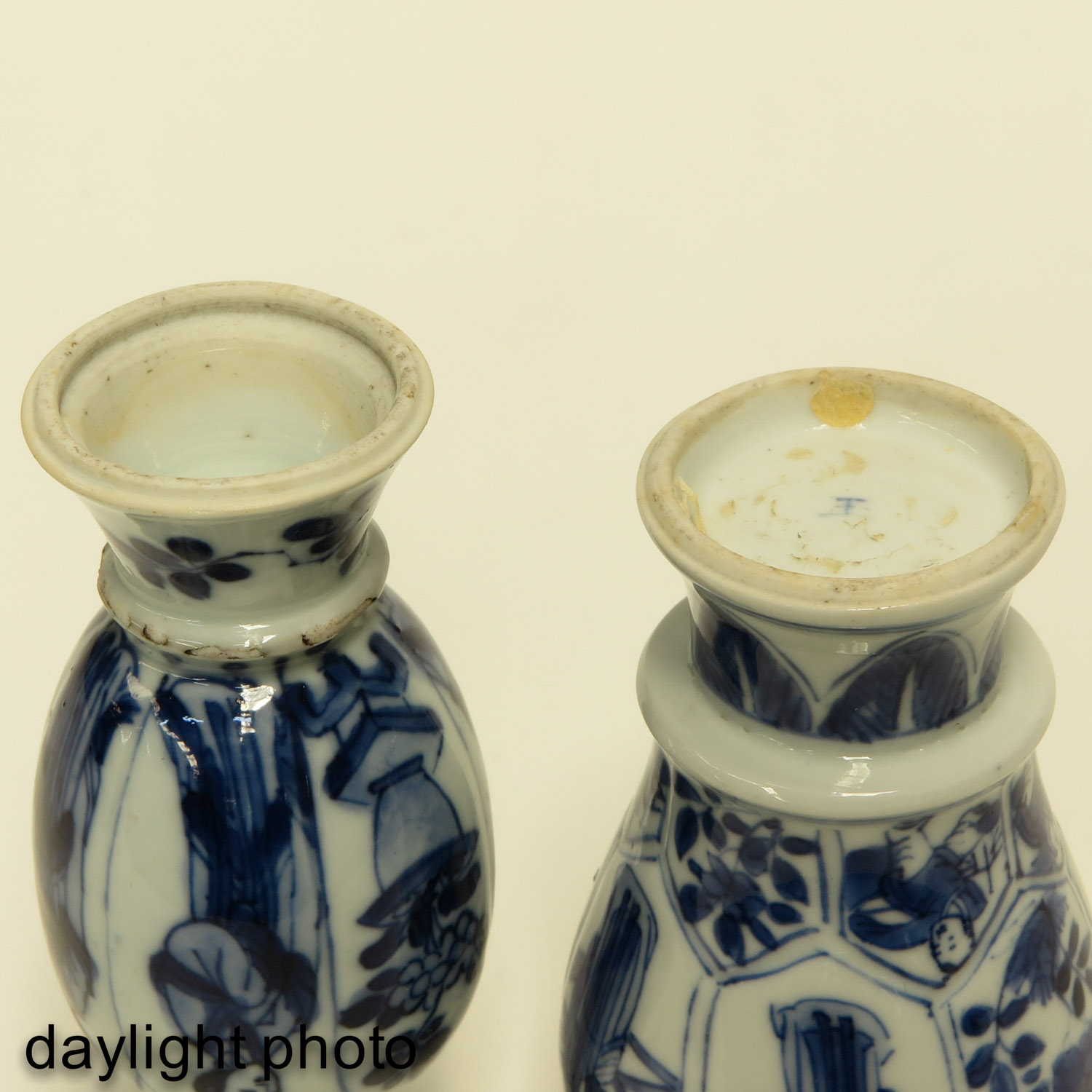 Lot 7068 - Two Miniature Blue and White Vases