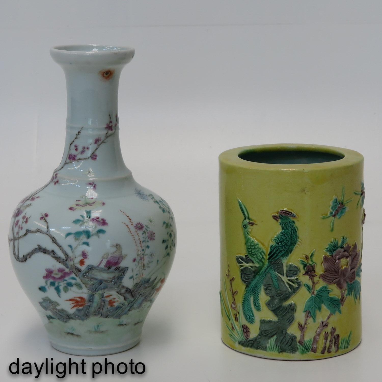 Lot 7005 - A Famille Rose Vase and Brush Pot