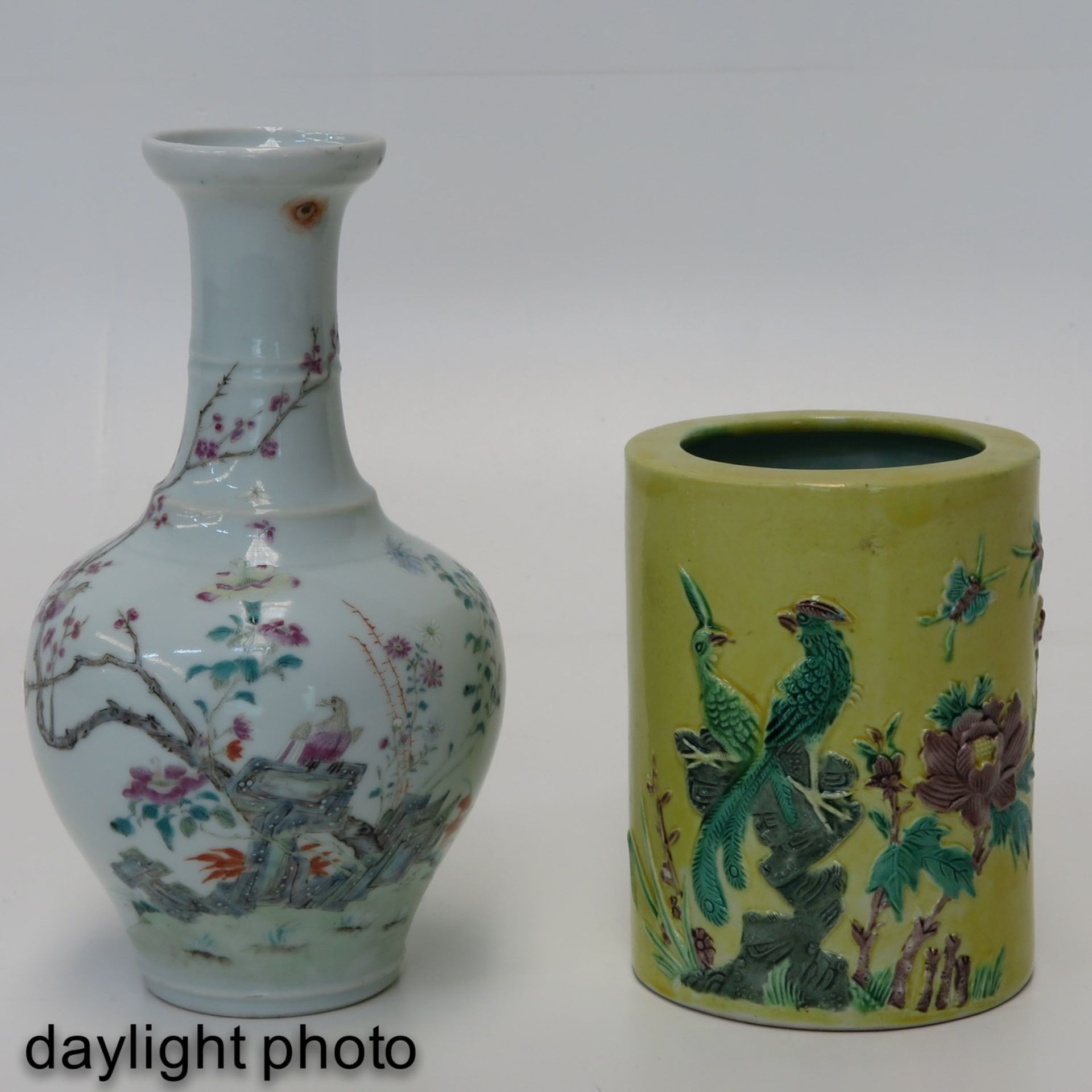 Los 7005 - A Famille Rose Vase and Brush Pot
