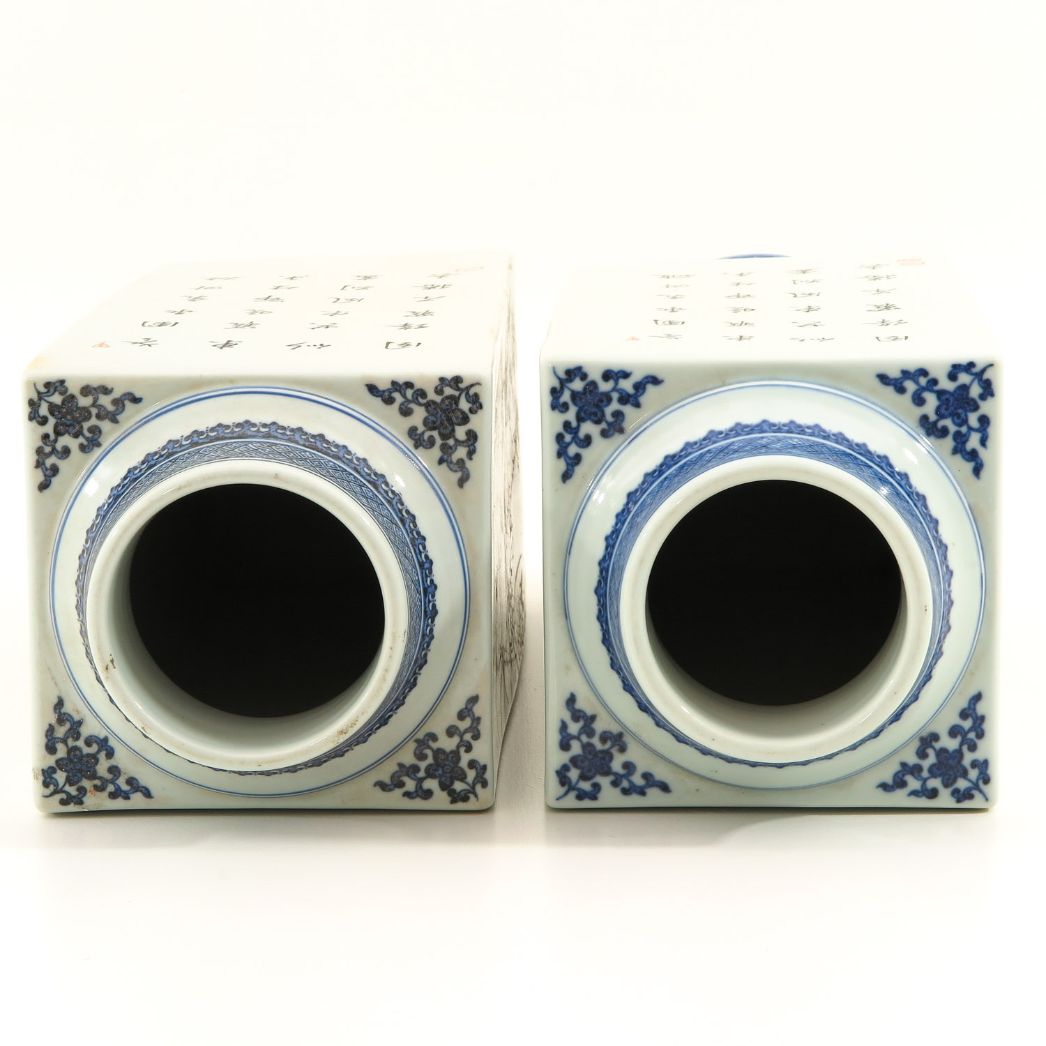 Lot 7047 - A Pair of Square Famille Rose Vases