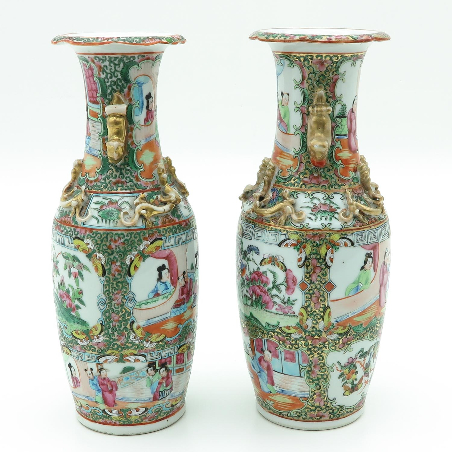 Lot 7036 - A Pair of Cantonese Vases