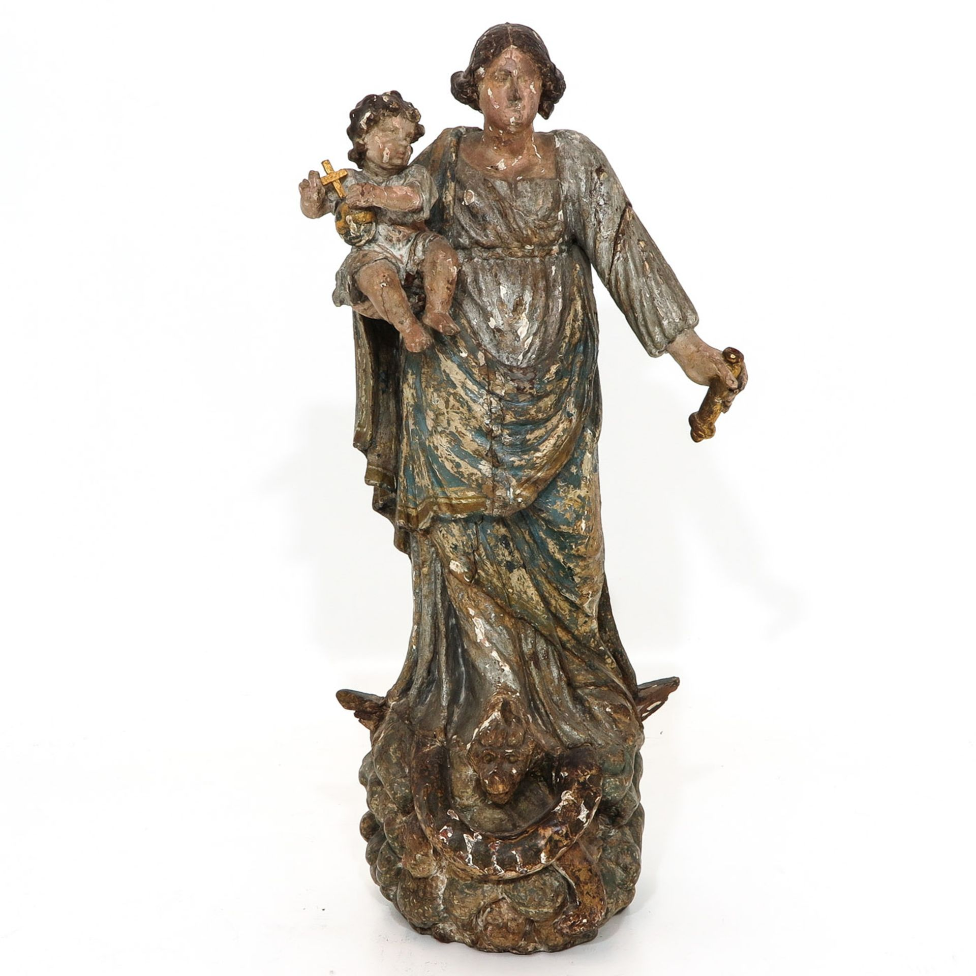 Los 1157 - A 17th - 18th Century Madonna and Child Sculpture