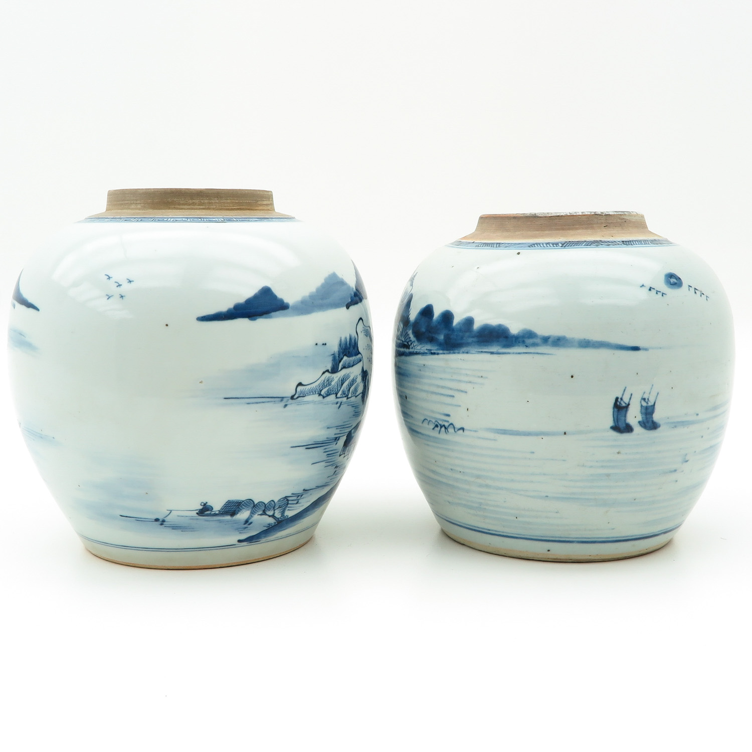 Lot 7008 - A Pair of Blue and White Ginger Jars