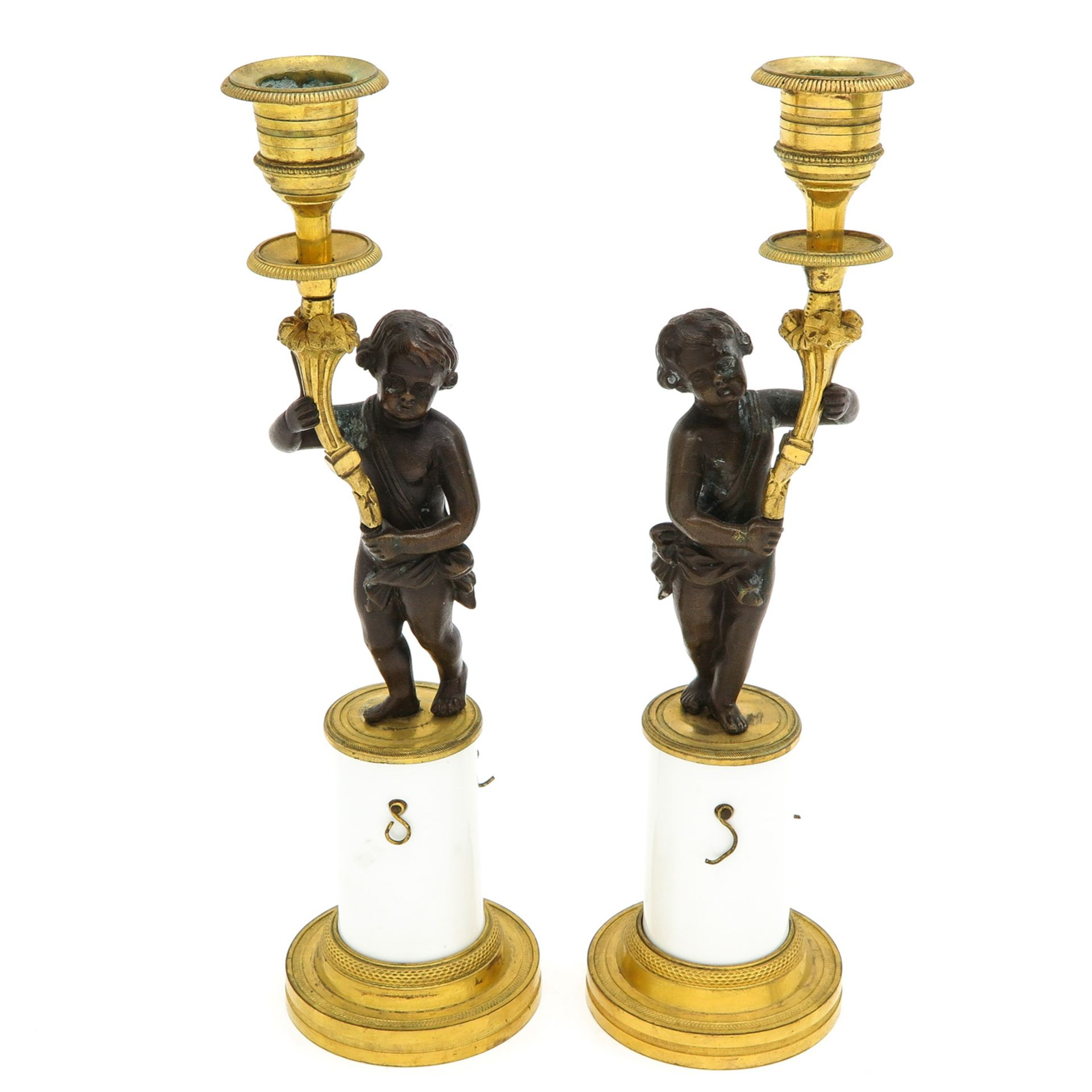 Los 1072 - A Pair of 19th Century Empire Candlesticks