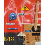 """Peter Klasen (b. 1935)""""High Voltage/Open-Closed"""" (E/18)Mixed media on canvasSigned and dated 1988"""