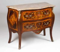 A Louis XVI style chest of drawersSolid and veneered rosewoodThorn bush marquetry work of f