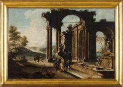 Italian school, 17th/18th centuryA pair of oils on canvasOne a Nativity scene with ruins an