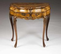 A small side tableWalnutWalnut marquetry and carved decorationTwo drawers and till-top<