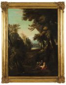 French School, 19th centurySaint Jerome praying in the desertOil on canvasLabel for Gal