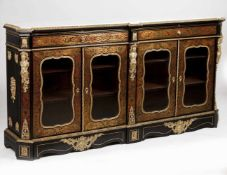 A Boulle style sideboardEbonised wood with tortoiseshell and brass marquetry in the Andre Charl