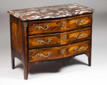 A Louis XV commodeJacaranda and rosewood veneer with marquetry decorationTwo short and two